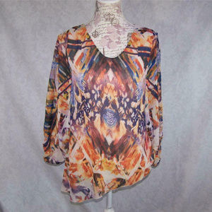 One World Shirt Top Wide Dolman Sleeves Lined